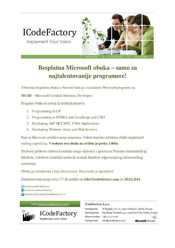 Junior Software Developer; Microsoft; Hiring; Novi Sad; Faculty of Technical Sciences; Faculty of Sciences; FTN; PMF