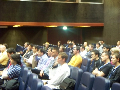 The crowd at the second speech, after a long and hard day of lectures.